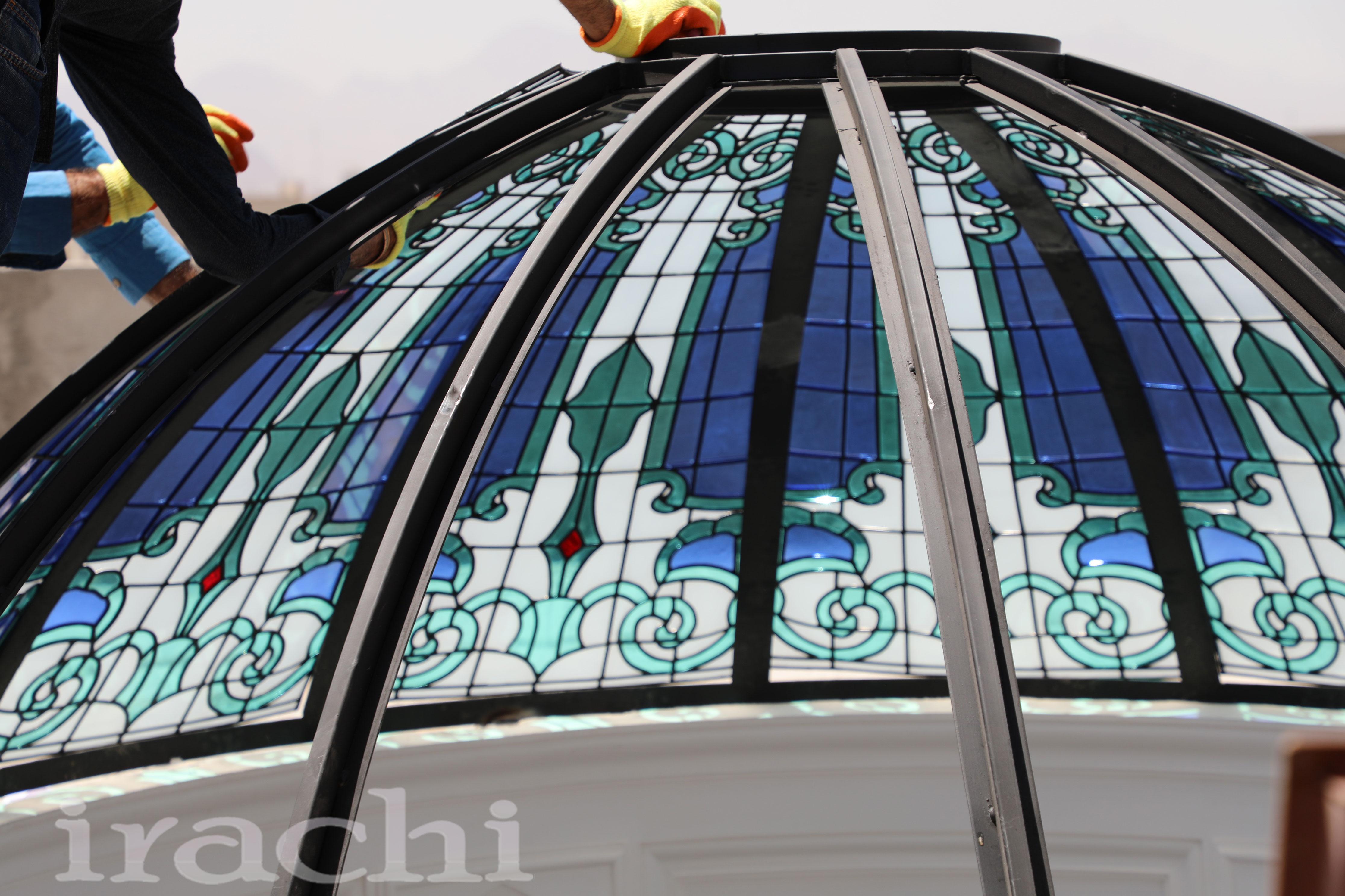 گنبد شیشه ای استین گلاس در ساختمان ویلایی یزد